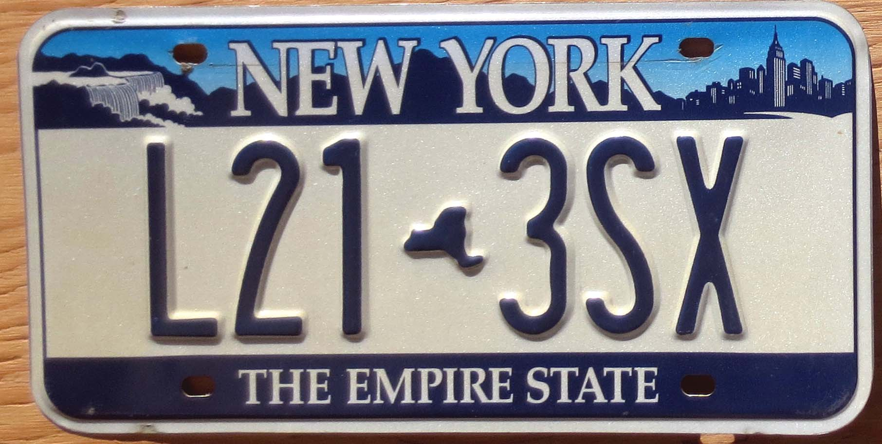 New York Empire State Base Vg Automobile License Plate