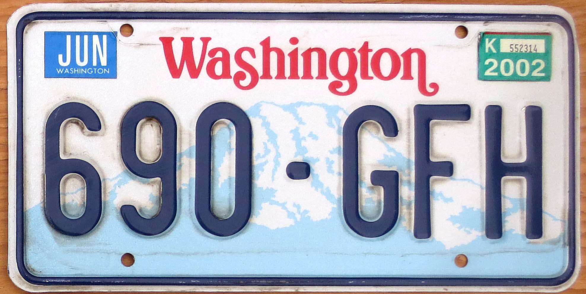 2002 Washington Vg Automobile License Plate Store