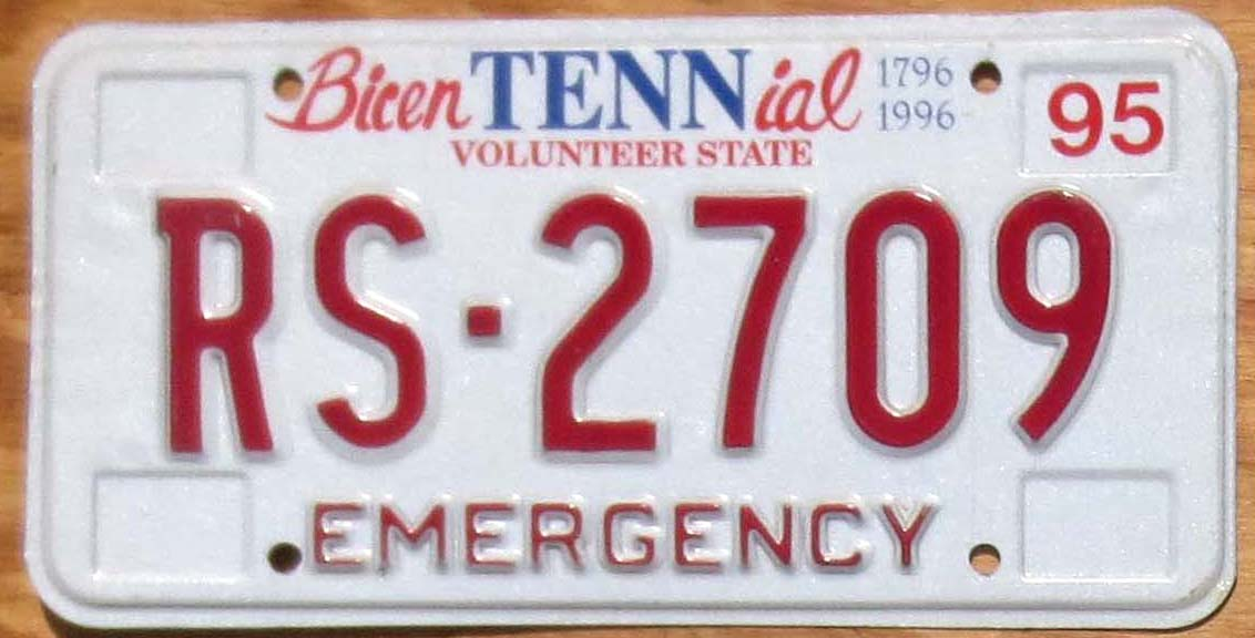 1995 Tennessee emergency mint | Automobile License Plate Store ...