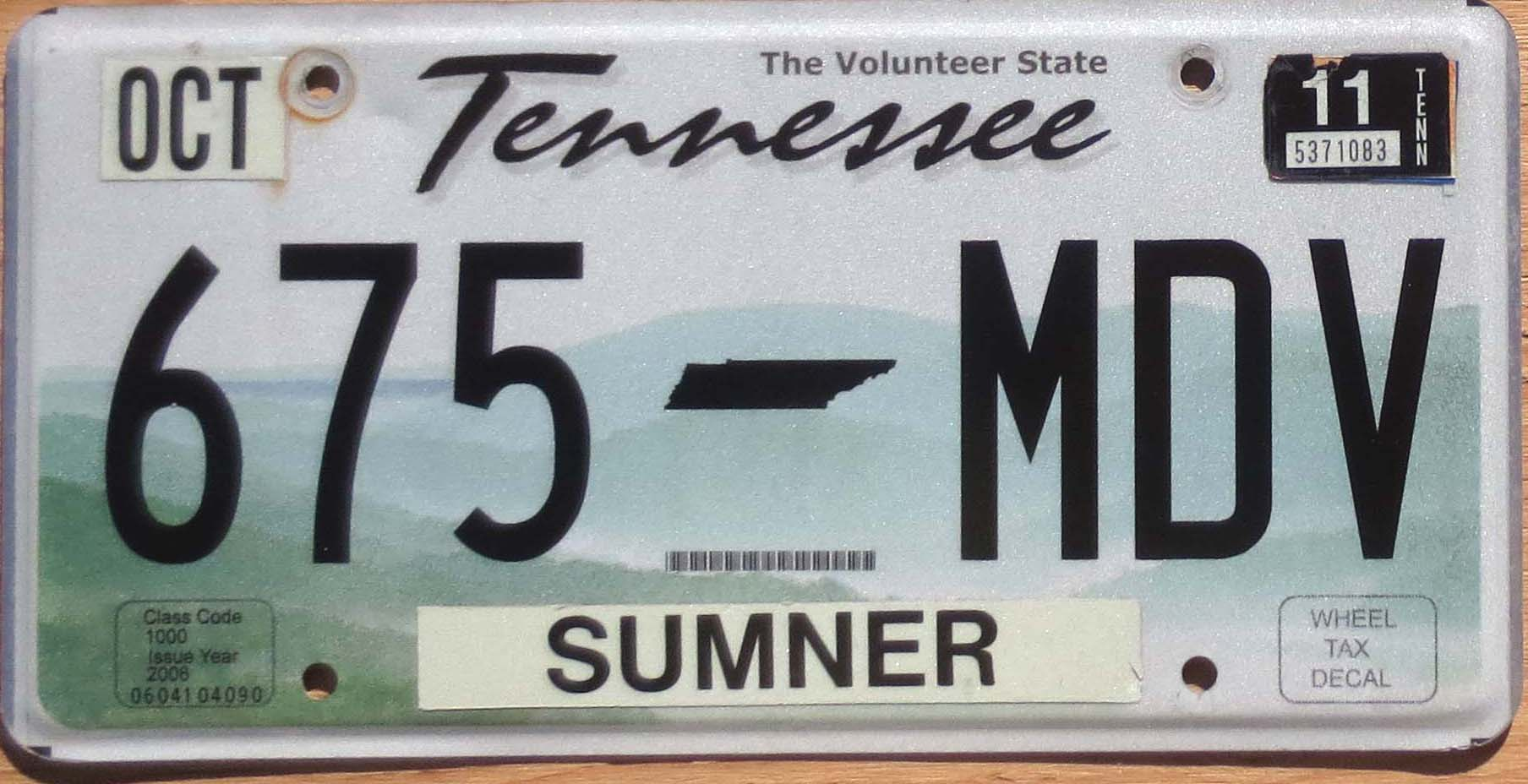 2011 Tennessee vg- | Automobile License Plate Store: Collectible ...