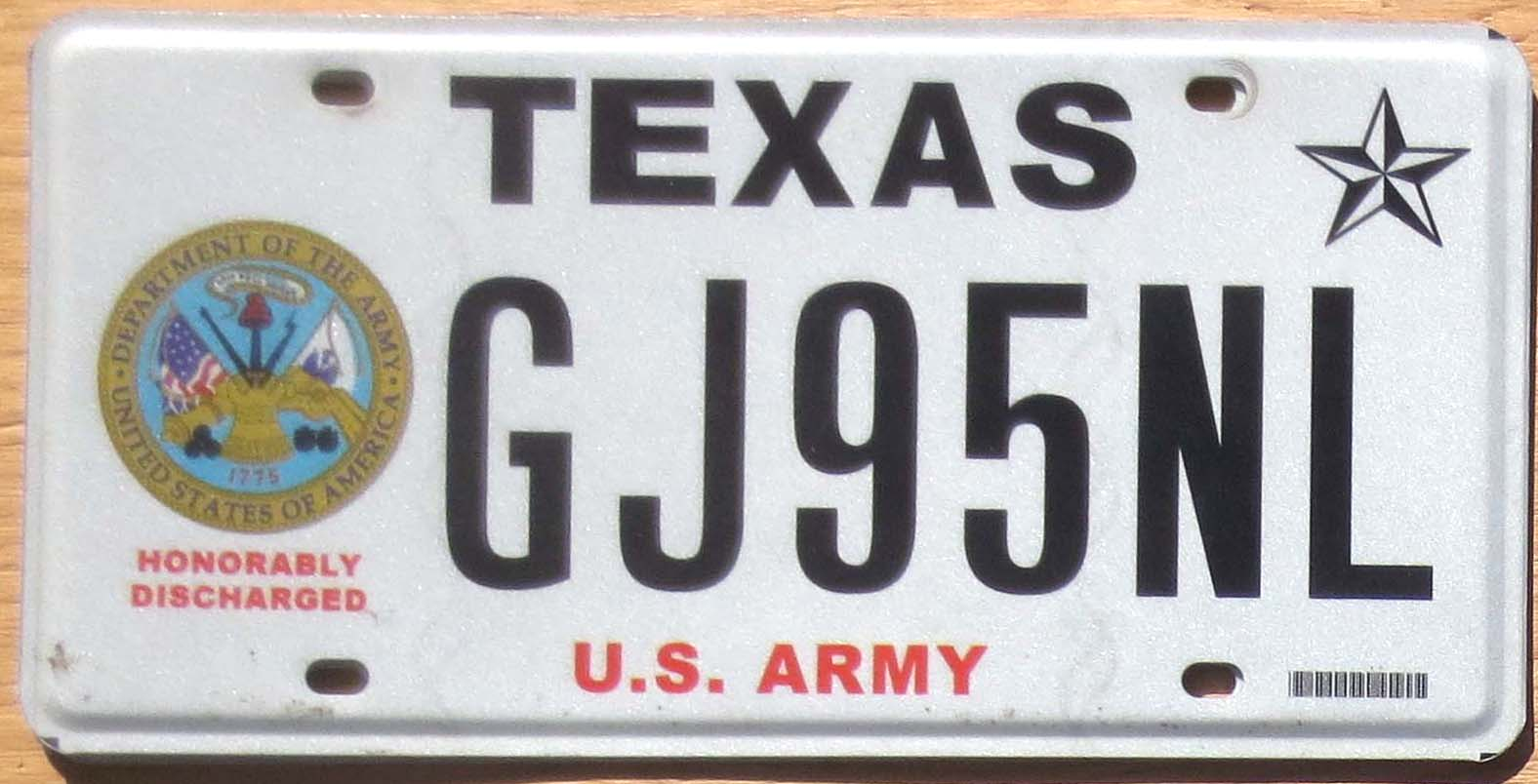 Texas Honorably Discharged Veteran Army vg+ | Automobile License ...